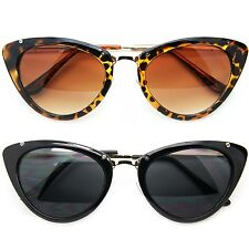 Cat Eye Designer Inspired Vintage Retro Sunglasses Women Black Brown White Frame