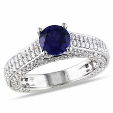 Sterling Silver 3 Ct TGW White Sapphire and Blue Sapphire Fashion Ring