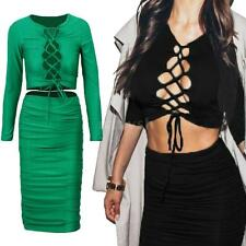 Womens Long Sleeve Lace Up Crop Top Midi Skirt Two Piece Set Bodycon Dress MY3I