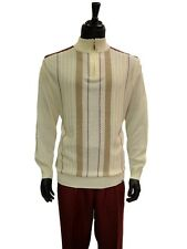 Stacy Adams Mens Cream Oxblood Half Zip Sweater 2 Pc Set Formal Walking Suit