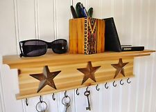 """Key Holder Wall Shelf Mounted Rustic Wood Natural Finish 18"""" With Stars"""