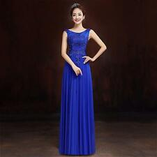 2015 Blue Long Chiffon Bridesmaid Evening Formal Party Ball Gown Prom Dress