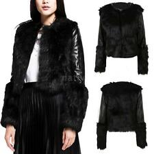 Winter Women Faux Fur Coat PU Leather Long Sleeve Jacket Outerwear Coat TP9L