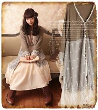 Japan style women's Vintage knitwear lace Embroidery dress Cardigan dress