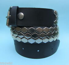 Rock Emo Skate 3 Row Hexagon Metal Stud Studded Real Leather Belt
