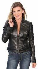 Ladies Black Lightweight Lambskin Leather Racing Jacket w Rivets