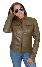 Ladies Olive Green Lightweight Lambskin Leather Racing Jacket w Rivets