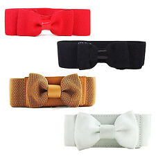 Women's Wide Elastic Stretch Bowknot Bow Tie Belt Waistband 4 Colors WS