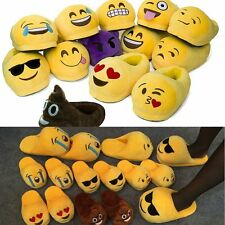 Unisex Emoji Plush Stuffed Fluffy Pajamas Slippers Winter House Indoor Fur Shoes