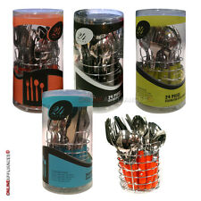 24PC STAINLESS STEEL PLASTIC HANDLE CUTLERY SET DINING TABLEWARE UTENSILS STAND