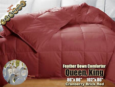 100% Goose Feather Down Comforters 95/5 Soft Bed Comforter Queen King, Cranberry