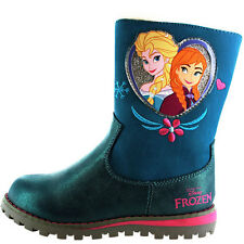 Frozen Heart Disney Girls Kids Boots - Teal (Sizes 6,7,8,9,10,11,12)