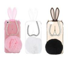 Lovely Plush Bunny Rabbit Soft TPU Clear Back Case Cover for iPhone 6 6S 4QS9