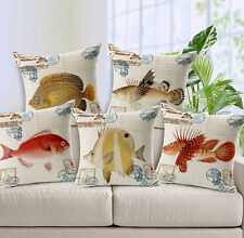 Home Garden sofa Pillow cushion Pillowcase Marine ocean sea beautiful fish 1pc