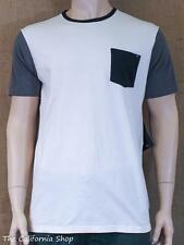 Rip Curl Stampd Knit Crew Tee Mens Gray White Standard Fit Pocket Shirt New NWT