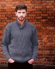 Men's Wool Sweater - Fishermans Style, 100% Irish Wool, Made in Ireland - A472s