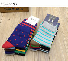 5Pairs Mens/Women Cotton Dress Stripe + Dot Designer Multi-Colors Medium Socks