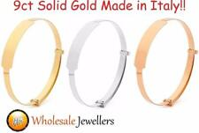 New 9ct 9kt 375 Solid Gold Expandable Childs Baby ID Identity Bracelet Bangle