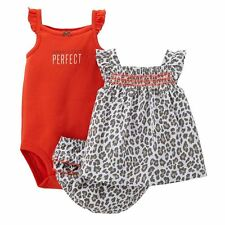 Carter's Infant Girls 3 Pc Bodysuit Top & Diaper Cover Set NWT 9M 12M 18M or 24M