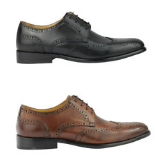 Mens Brown Black Real Leather Vintage Wing Tip Brogue Shoes 6.5 7 8 9 10 11 11.5