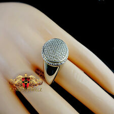 MENS REAL GENUINE DIAMOND 0.20 CTW WHITE GOLD FINISH DOOM STYLE PINKY RING BAND
