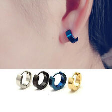 Punk Mens Women Stainless Steel Hoop Huggies Ear Stud Earrings Gothic