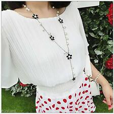 Lady Charm Fashion Enamel Flower Faux Pearl Long Sweater Chain Necklace Pendant