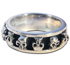 Ring Mens Biker band spinning Skull sterling silver handmade jewelry 925 Rock