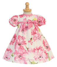 Baby Flower Girl Cotton Pink Dress Pageant Easter Wedding Birthday Party M716