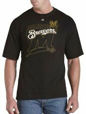 Milwaukee Brewers MLB Majestic Mens Pop Shirt Black Big & Tall Sizes