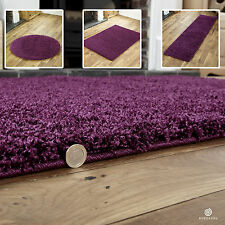 SMALL TO EXTRA LARGE - THICK 5CM HIGH PILE NON-SHED AUBERGINE SHAGGY PURPLE RUGS