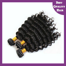 Deep Wave Brazilian Human Virgin Hair Extensions Black Remy Hair Weave 8''-22''