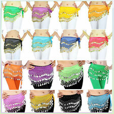 Full New 3 Rows Belly Dancing Hip Skirt Scarf Wrap Belt Hipscarf Gold 98 Coins