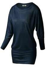 Womens Batwing Long Sleeve Top Boat Neck Slim Fit Pullover Jumper T-Shirt Tunic