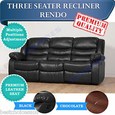 BRAND NEW Recliner Sofa Lounge 3 Seater Bonded Leather - RENDO