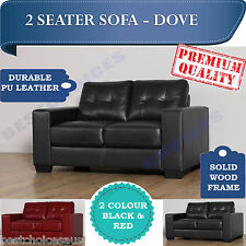 Modern Design Black and Red PU Leather Sofa Couch Lounge Double Seater - DOVE