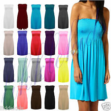 Womens Strapless Elasticated Boobtube Sheering Shirred Bandeau Swing Dress Top