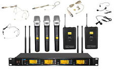 UHF 4x100 Channel Handheld Beige Headset Lavalier Wireless Microphone System