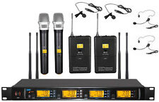 Pro UHF 4x100 Channel Handheld Beige Headset Lavalier Wireless Microphone System