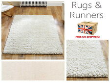 Elsa Cream Ivory Shaggy Plain Fluffy Rugs & Hall Runners Mats All Sizes