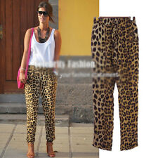 Celebrity Fashion Women's Casual Loose Leopard Printed Harem Pants Lady Trousers