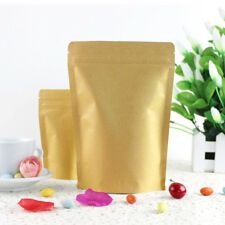 Kraft Paper Bags Pouch Stand Up Resealable Coffee Ziplock Aluminum Foil 15x21cm