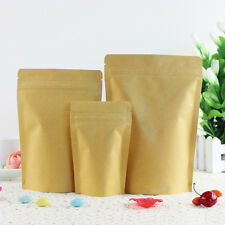 Kraft Paper Bags Pouch Stand Up Resealable Coffee Ziplock Aluminum Foil 20x25cm