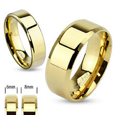 Modern Gold Polished Flat Wedding Band Glossy Beveled Edge Stainless Steel Ring