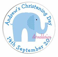 Personalised High Gloss Christening Day / Baptism Circle Stickers 7 Sizes CDCS13