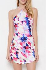 L'ATISTE by AMY  white geometric print sleeveless sexy mini spring summer dress
