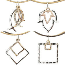 Fish Leaf Square Pendant Necklace Charm Austrian Crystal Clear Jewelry Two Tone