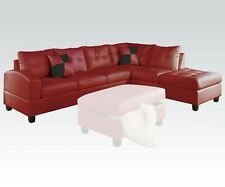 Living Room Sectional Sofa Set Red Modern Bonded leather Sofa Chaise Tuft Couch
