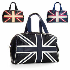 Union Jack GB Flag in Flight Luggage Travel Holdall Faux Leather Black Bag