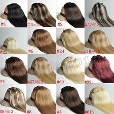 New 7PCS Clip In Real Remy Human Hair Extensions Brown Blonde Black